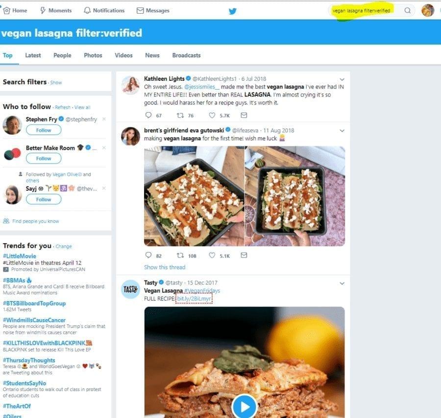 vegan lasagna twitter filter