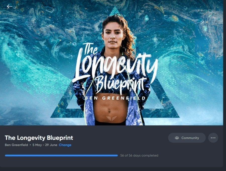 The longevity blueprint quest by Ben Greenfield screenshot of completion