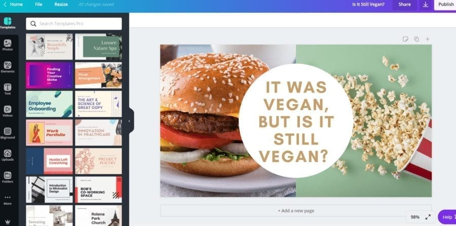 Working on picture in Canva dashboard for blog post