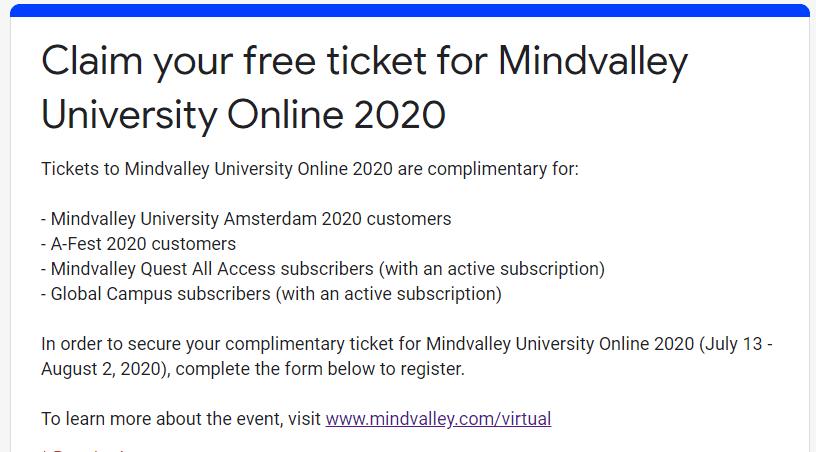 Mindvalley University Online 2020